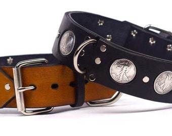 "Leather dog collar (for large dogs) "" The Heads or Tails"" series"