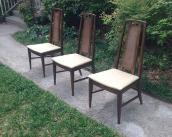 Set of Three (3) Vintage Oak Side Dining Chairs - Local Pickup Only - Raleigh, NC