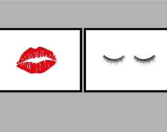 Eyelash Print // Lipstick Kiss Print // A5 // Home // Decor // Wall Art // Print // Typography //
