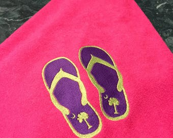 Embroidered Beach Towel Flip Flops