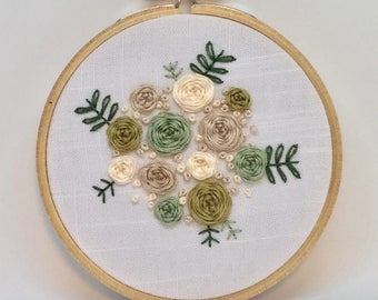 Pastel florals embroidery hoop