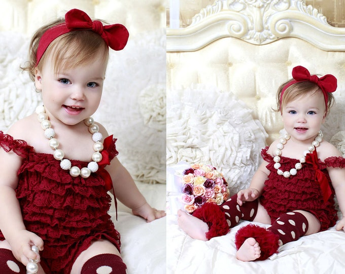 SALE! Baby Girls 4 pcs set, burgundy romper, petti romper, photo prop, birthday romper, baby romper, leg warmers, baby headband, necklace