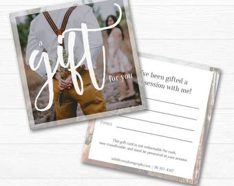 Square Gift Certificate Template - Photography Gift Card Template, Discount Marketing Voucher, Photoshop Template PSD *INSTANT DOWNLOAD*