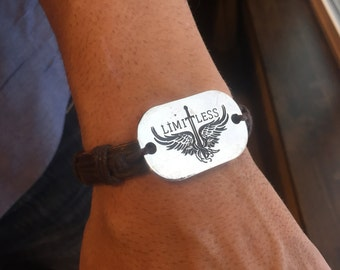 Limitless Logo Leather Strap Wristband with Silver Plate