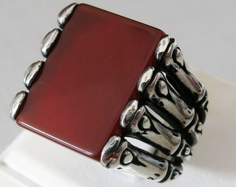 Handmade 925 Sterling Silver Authentic Natural Agate Stone Men's S RING B34