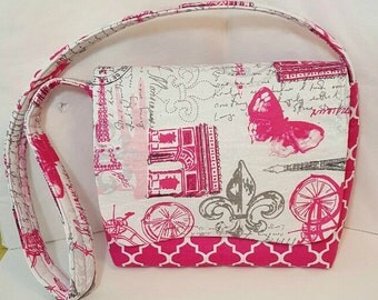 Messenger bag - Ready to ship - Hot pink messenger bag - Paris handbag - Shoulder bag - Tote bag - Hobo bag - Satchel bag