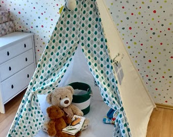 Leaves turquoise KIDS Teepee Tent (handmade) Play House 100% Zelt Wigwamcotton