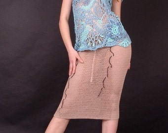 Handmade knitted top and knit skirt