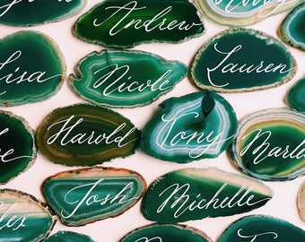 Green agate slice hand written place cards / name cards