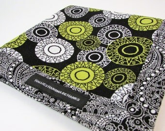 Handmade Hank Black White Lime Green Circles and Black and White Paisley EDC Hank Everyday Carry Pocket Dump Mens Handkerchief Gift for Him