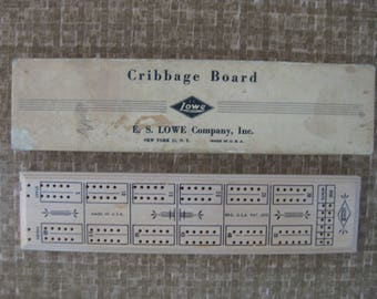 1940s Cribbage Board E.S. Lowe Vintage Wooden Game Board