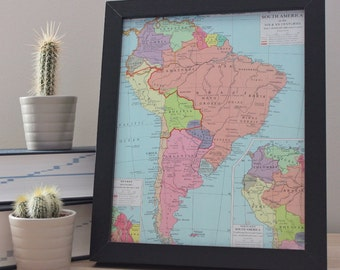Old Vintage Framed Map Of South America Office Home Art Decor Original Colourful Print Historical SA Brazil Colombia Argentina Chile Peru