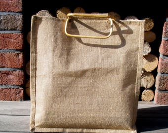 vintage linen jute tote bag with wooden handles, organic, natural, linen, shopping bag
