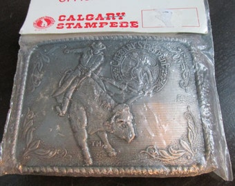 New in Package Calgary Stampede Belt Buckle 1975 Texaco Canada Limited Edition 3.5""