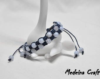 Blue Double Row Braided Bracelet with Glass Beads