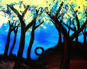 Original art by SVogelArt, acrylic on canvas, 12x16, forest, trees, tire swing, blue sky, yellow leaves, nostalgia, childhood