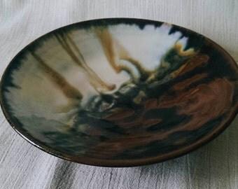 Handmade ceramic stoneware plate