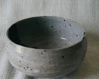 milky speckled earthenware bowl
