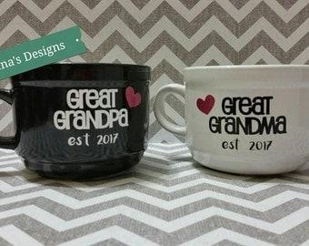Parent/Grandparent/Great Grandparent Est. 22oz Coffee/Soup Mug