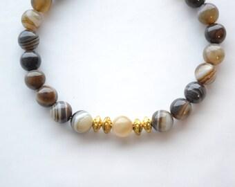 8mm Gold Agate Yoga Beaded Gemstone Bracelet