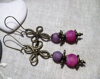 Pearl agate Givrees Violet and Rose earrings
