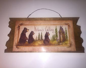 Nature's Calling Bears Stars Outhouse Home Decor with Brown metal wire for Hanging