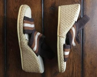 Vintage brown stretch wedges 6