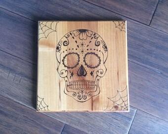 Wood Burned Art, Sugar Skull Wall Decor, Wood Wall Decor, Art on Wood