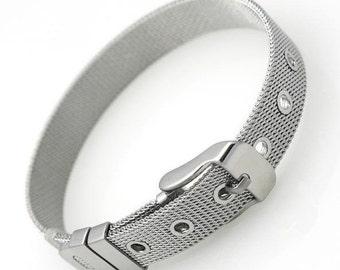 Stainless Steel Mesh Adjustable Wristband Bracelet With Buckle Alphabet Slider Bracelet 8mm