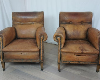 Pair Vintage Leather Club Armchairs