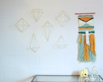 Blue Hues and Goldenrod Woven Wall Hanging