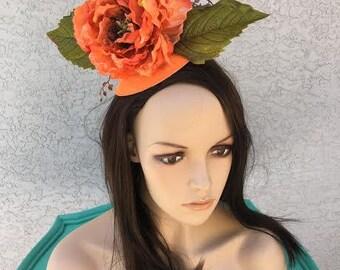 Orange Floral Fascinator
