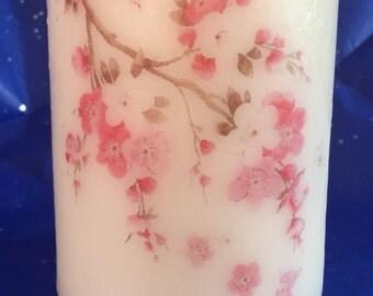Spring Blossom Medium Pillar Candle, Home Decor, pillar candle, gift, decorative candle,Medium Pillar Candle, Decorative Candle