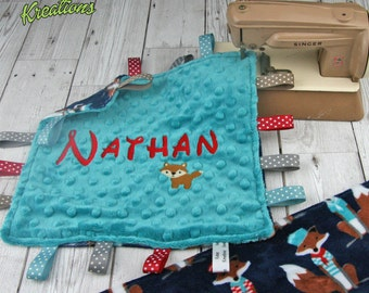 Personalised Baby Plush Comforter / taggie blanket - Sailor Fox - Shannon Plush Fabric (Minky)