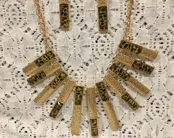 Cheetah Print Chroma Necklace and Earring Set