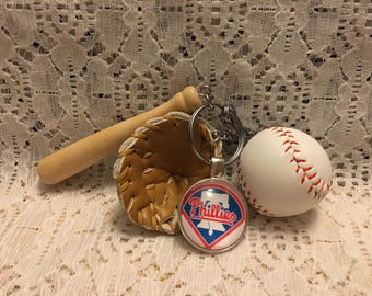 Phillies Baseball Key Chain/Philllies Key Ring/Philadelphia Phillies/Phillies Jewelry/MLB Key Chain/MLB Key Ring/Phillies Baseball
