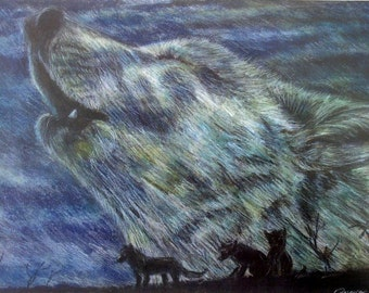 """Wolves - Watercolor & Charcoal Drawing - 9""""x12"""" Print"""