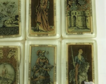 Fused Glass French Antique Tarot Card Magnets