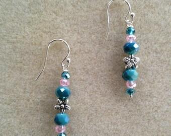 Beautiful handmade pink and blue / teal earrings