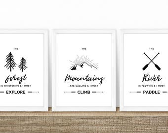 Outdoor Adventure Nursery Art Print Set, Hiking, Kayaking, Climbing, Canoe, The Mountains Are Calling And I Must, Forrest, River, Paddles