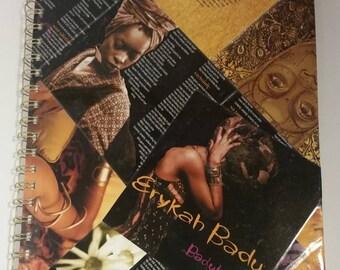 Erykah Badu Notebook, Neo-soul, large journal, large notebook, blank notebook, cool notebook, Baduizm, Queen, Black Queen