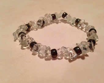 Pewter ice beaded bracelet