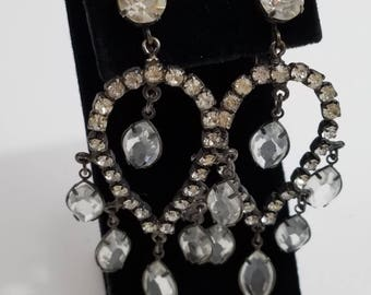 Gorgeous Rhinestone Chandelier Clip Earrings
