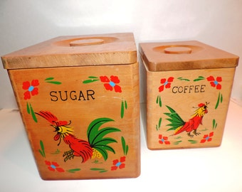 Vintage Wood Rooster Canisters