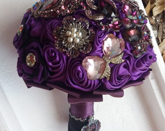 Purple brooch bouquet for wedding bridal bouquet maid of honor bouquet