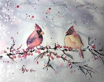 Snowing (Original Watercolor Painting)