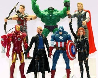 Avengers action figures Large 7 piece set Avengers birthday party cake toppers superhero Thor Captain America Iron man hulk black widow Fury