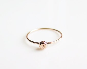 Tiny Letter Initial Ring 14k Solid Rose Gold, Promise Ring, Personalized Ring, Pebble Ring