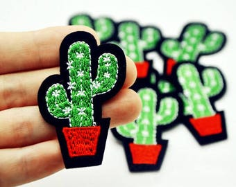 Cactus Embroidered Iron On Patch // Cute Vegan Plant Patch // Amazing Quality