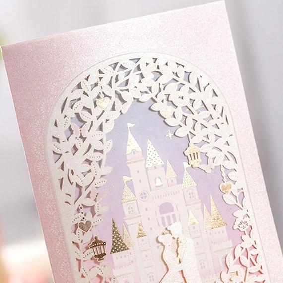 12 Pink Cinderella Wedding Invitations Castle Wedding